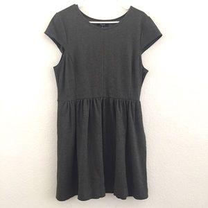 Madewell Gray Cap Sleeve Ponte Skater Dress XL